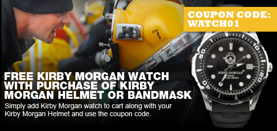 Free Kirby Morgan watch with purchase of Kirby Morgan helmet or masks