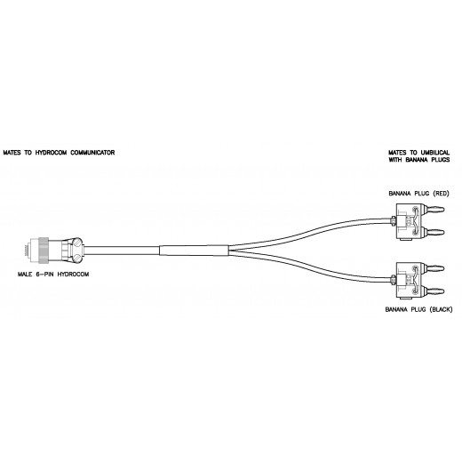 Male 6-Pin Hydrocom to Banana Plugs Communications Adapter