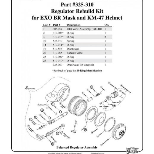 325-310 Regulator Rebuild Kit for EXO-BR Dive Mask