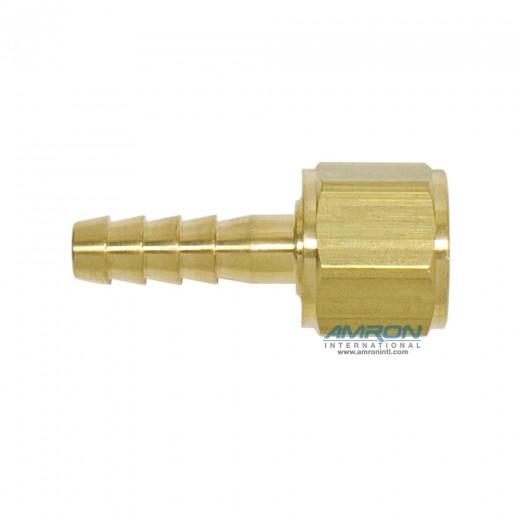 AHB-40202 1/4 Inch x 9/16-18 Oxygen Thread Hose Barb - Brass