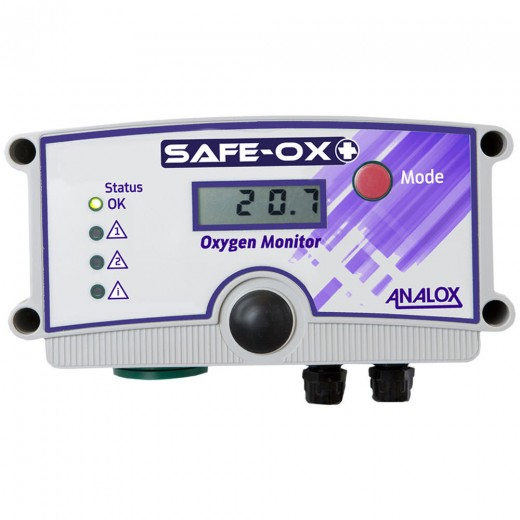 AX1BK20X55QXY51 Safe-Ox+ Wall Mount Oxygen (O2) Monitor 230V AC UK Plug for with Quick Connect Repeater