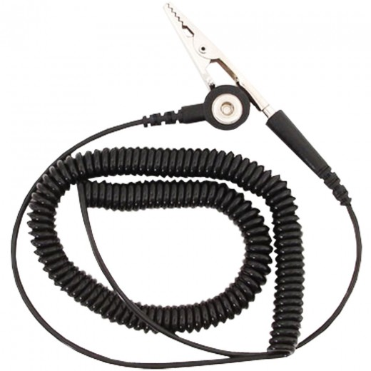 Grounding Cord Standard Coil with 1/8 in. Snap - Black - 6 ft.