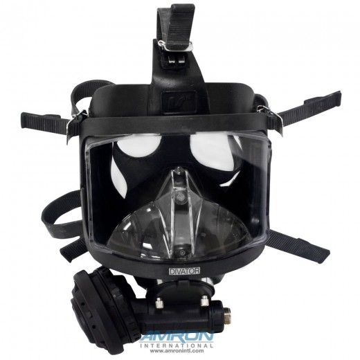 Divator MK II Full Face Mask with Positive Pressure Regulator - Silicone - Black