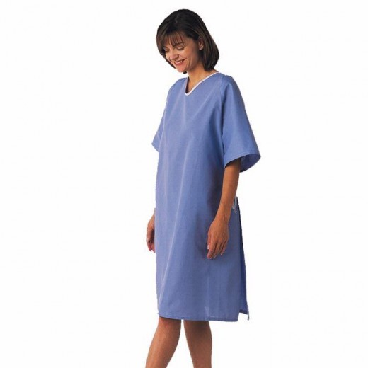 Single Hyperbaric Patient Gown - 100% Cotton - Tie-side - One Size Fits All