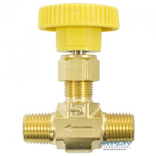 4M-V4LK-B-YEL Needle Valve Inline 1/4 inch MNPT - Brass - Yellow Handle