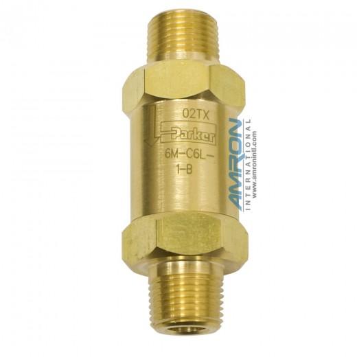 6M-C6L-1-B - C-Series Check Valve 3/8 inch MNPT 1 Crack Pressure - Brass