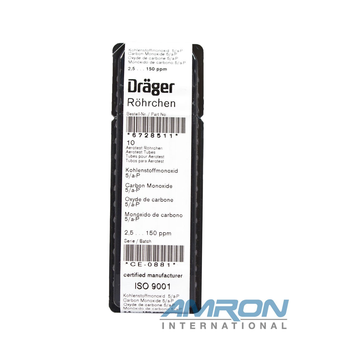 Draeger CO 5/a-P Aerotest Tubes 2.5-150 PPM - Box of 10 6728511