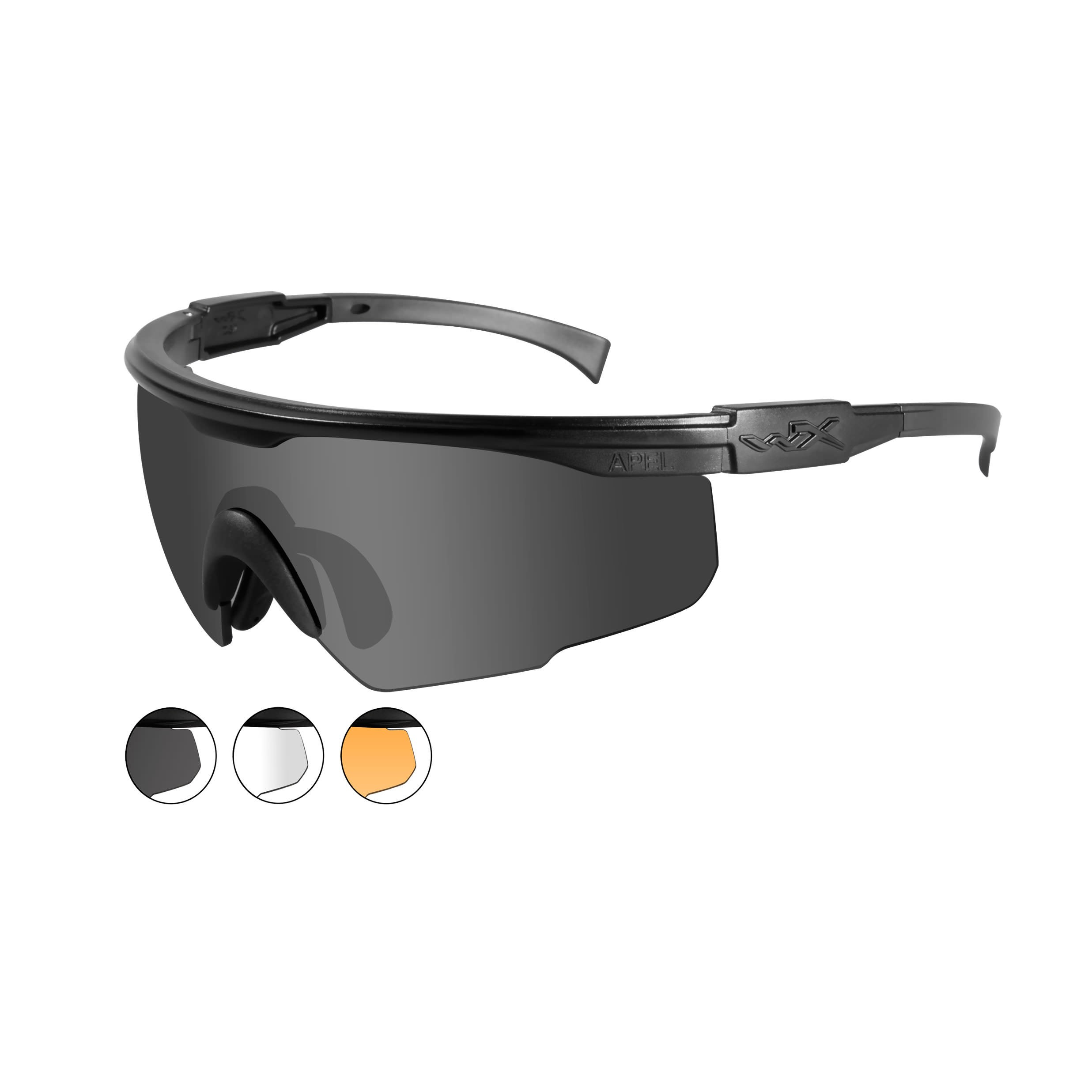 Wiley X PT-1 Interchangeable Sunglasses - 3 Lens System - Clear, Light Rust Lens & Smoke Green