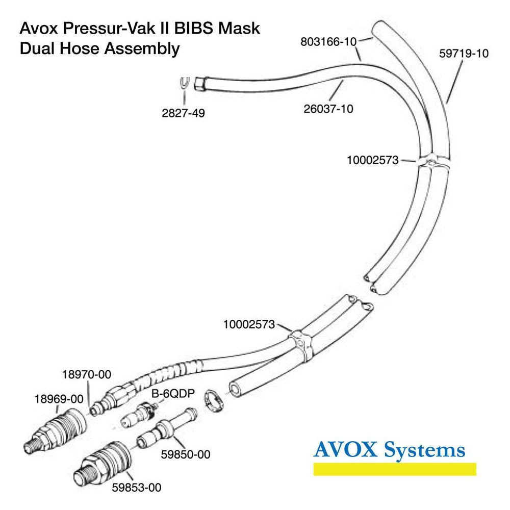 Avox 803139-01-XX Pressur-Vak II - without Face Seal/Harness without 1st Stage Regulator Assembly without Microphone - Dual Hose Assembly