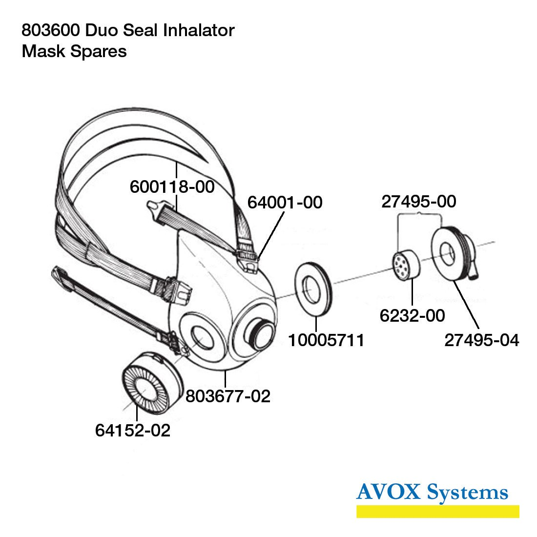Avox Series 803600 Duo Seal Inhalator without 1st Stage Regulator Assembly without Microphone Assembly 803600-02 - Mask Spares