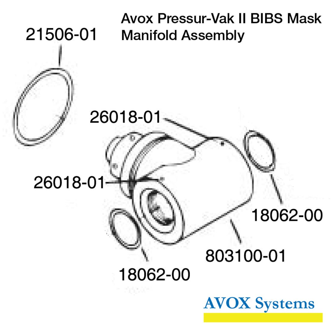 Avox 803139-01-XX Pressur-Vak II - without Face Seal/Harness without 1st Stage Regulator Assembly without Microphone - Manifold Assembly