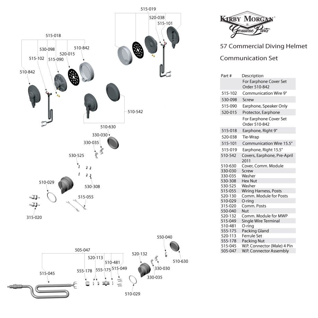 Kirby Morgan 57 Commercial Diving Helmet  - Communications Set