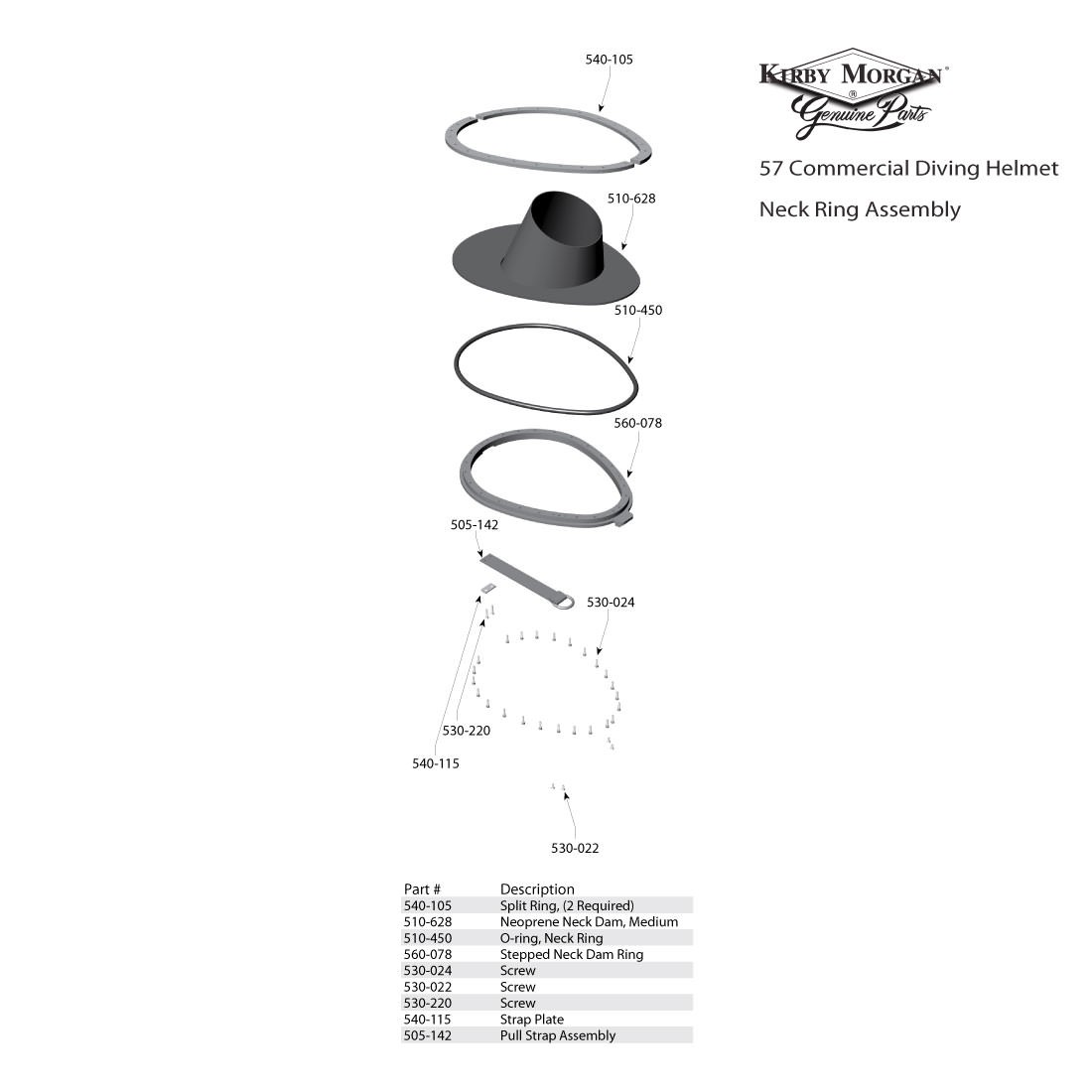 Kirby Morgan 57 Commercial Diving Helmet  - Neck Ring Assembly