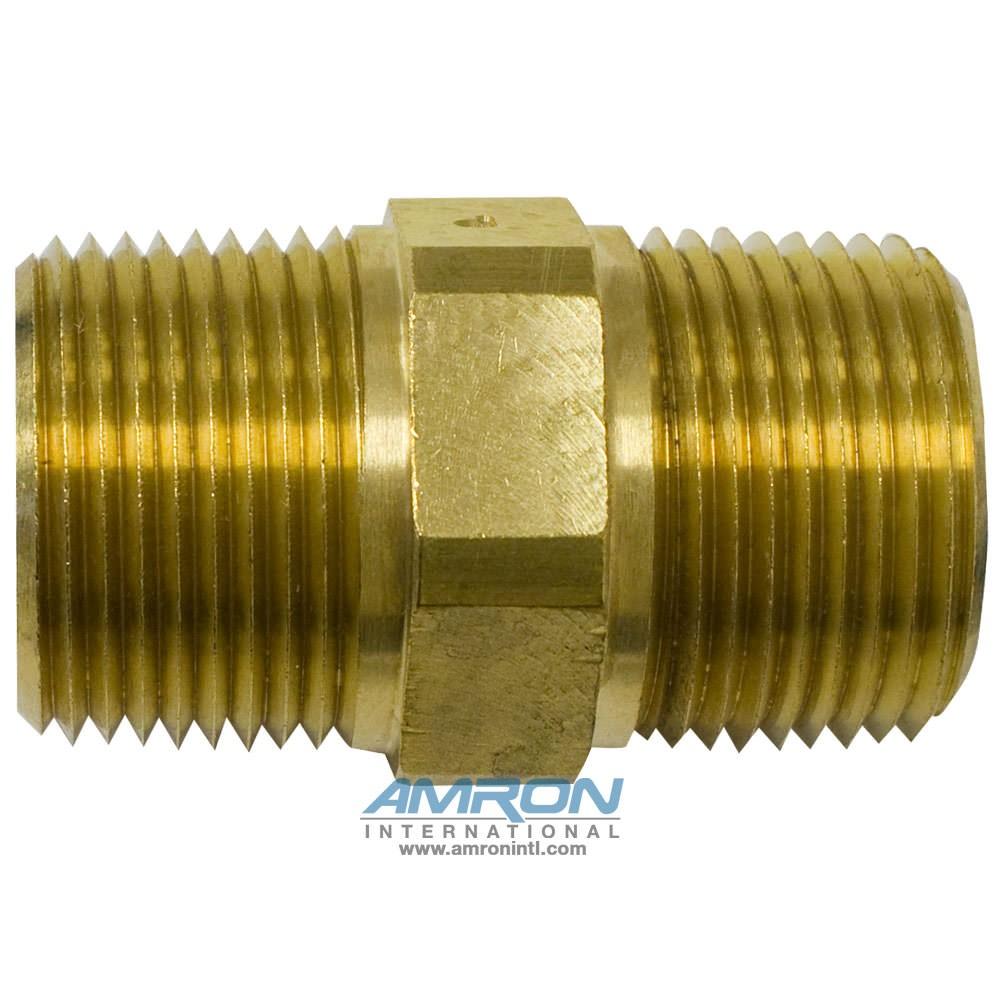 Parker FF-B-1 - FF Pipe Nipple Hex Brass - 1 inch NPT - Brass