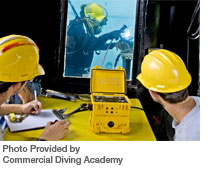 Amcom I Communicator used by the students at Commercial Diving Academy for the underwater communications needs. Photo Provided by Commercial Diving Academy