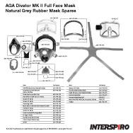 Interspiro AGA Divator MK II Grey Natural Rubber Mask Spares Parts Breakout