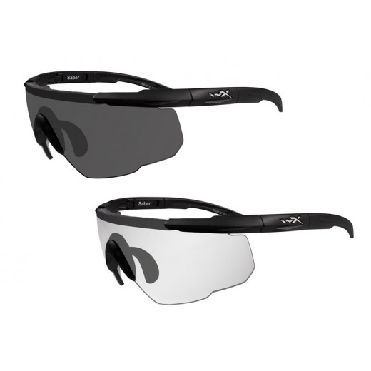 Saber Advanced Ballistic Sunglasses - 2 Frames with Smoke Gray & Clear Lenses