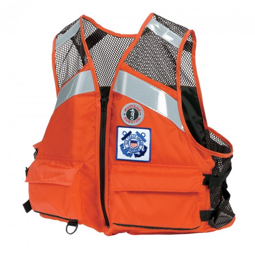 Industrial Mesh Vest with SOLAS Reflective Tape for USCG Auxiliary - Orange