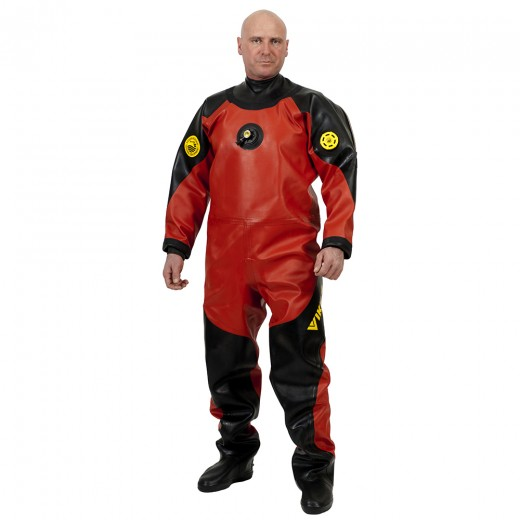 PRO 1050 g/m2 Vulcanized Rubber Drysuit with Latex Neck Seal - Red