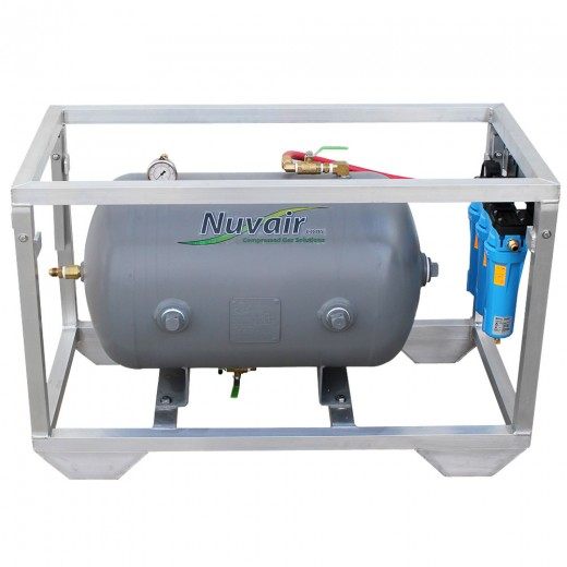 NUV-7084 Framed 60 Gallon Horizontal ASME Volume Tank and LP Breathing Air Filtration System