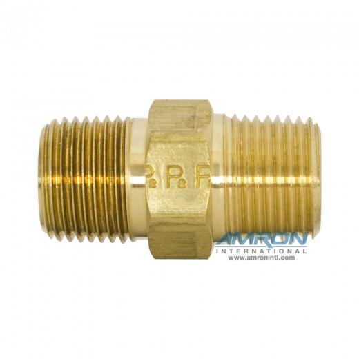 FF-B-3/8 FF Pipe Nipple Hex 3/8 inch NPT - Brass
