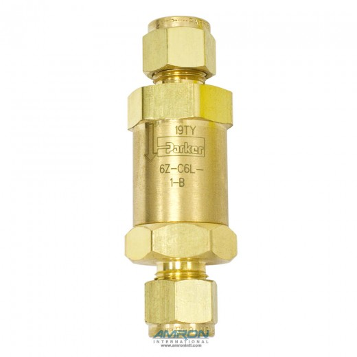 6Z-C6L-1-B - C-Series Check Valve with Viton Seal 1  PSI Cracking 3/8 inch Tube - Brass