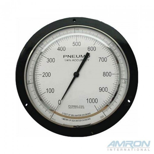 PER-200FTM96A01 6-Inch Pneumo Depth Gauge 0.25% Accuracy 1200 FSW / 360 MSW