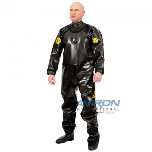 PRO 1050 g/m2 Vulcanized Rubber Drysuit with Latex Neck Seal - Black