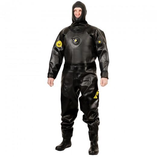PRO 1050 g/m2 Vulcanized Rubber Drysuit with Surveyor Hood - Black