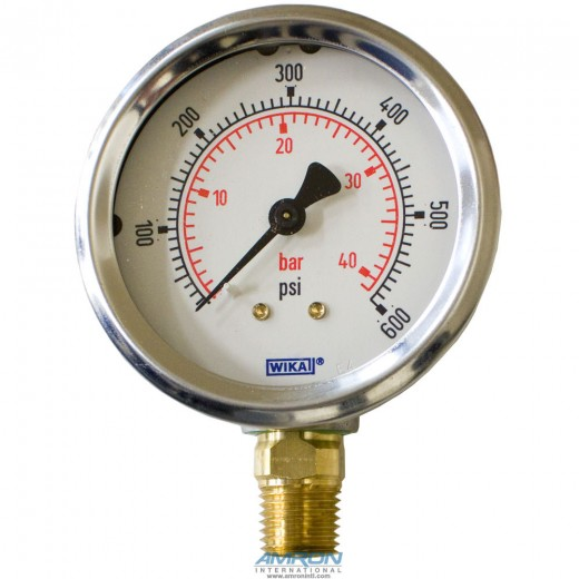 Model 212.53 Bourdon Tube Dry Case Pressure Gauge 2.5 in. 0-600 PSI 1/4 in. NPT - Lower Mount - No Flange
