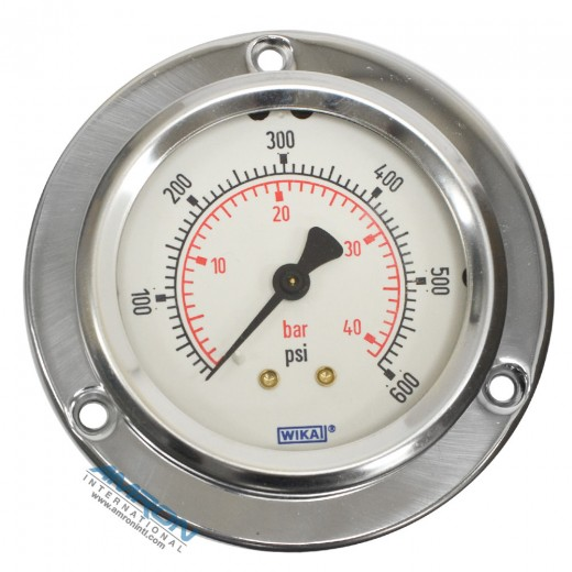 Model 212.53 Bourdon Tube Dry Case Pressure Gauge 2.5 in. 0-600 PSI 1/4 in. NPT - Center Back Mount - Front Flange