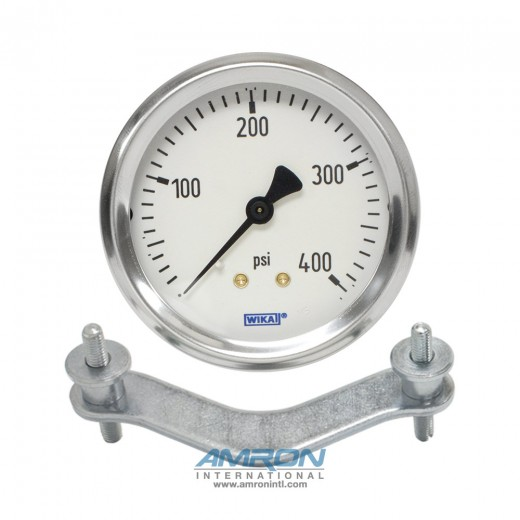 Model 212.53 Bourdon Tube Dry Case Pressure Gauge 2.5 in. 0-400 PSI 1/4 in. NPT - Center Back Mount with Clamp Ring - No Flange
