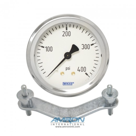 Model 212.53 Bourdon Tube Dry Case Pressure Gauge 2.5 in. 0-5000 PSI 1/4 in. NPT - Center Back Mount with Clamp Ring - No Flange