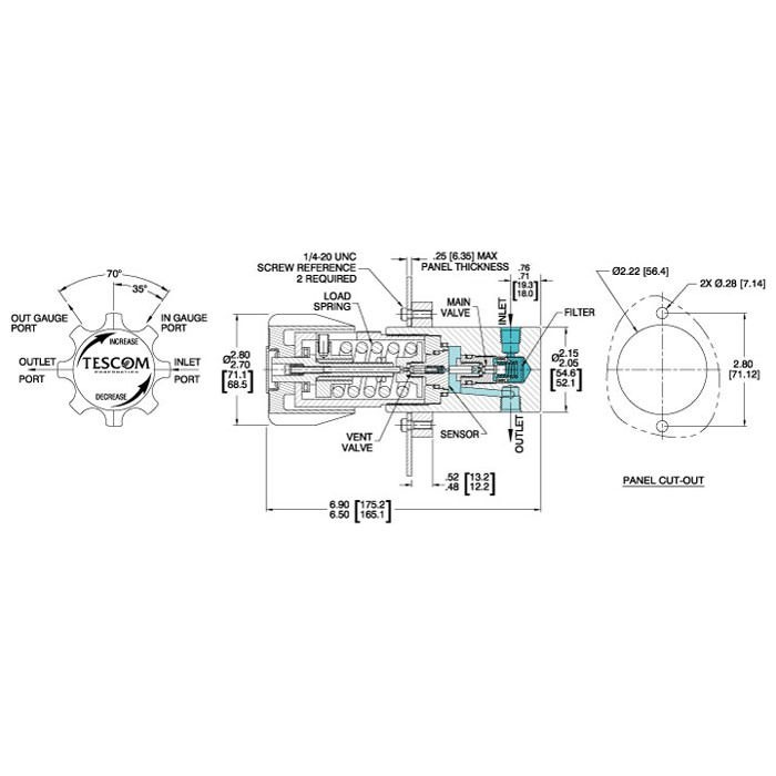 TESCOM 44-1100 Series Pressure Reducing Regulator Diagram