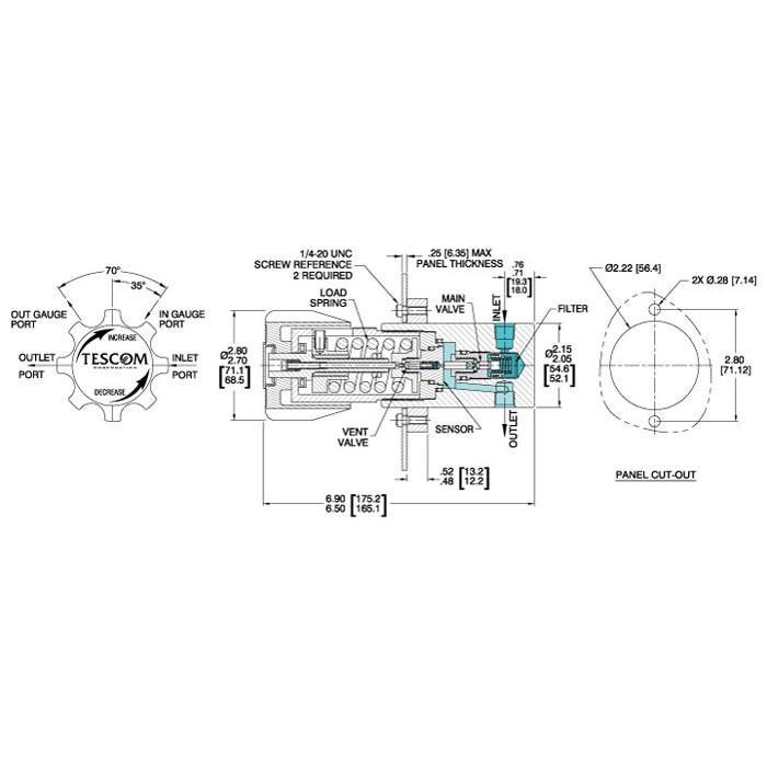 TESCOM 44-1100 Series Pressure Reducing Regulator Series Diagram
