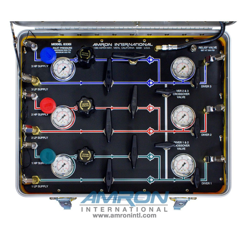 Amron International Model 8330i Air Control and Depth Monitoring System for 3 Divers Top VIew 8330i