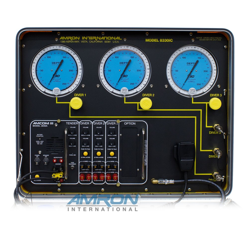 Amron International Model 8330iC Air Control and Depth Monitoring System with Communicator for 3 Divers Front Panel Lid 8330iC