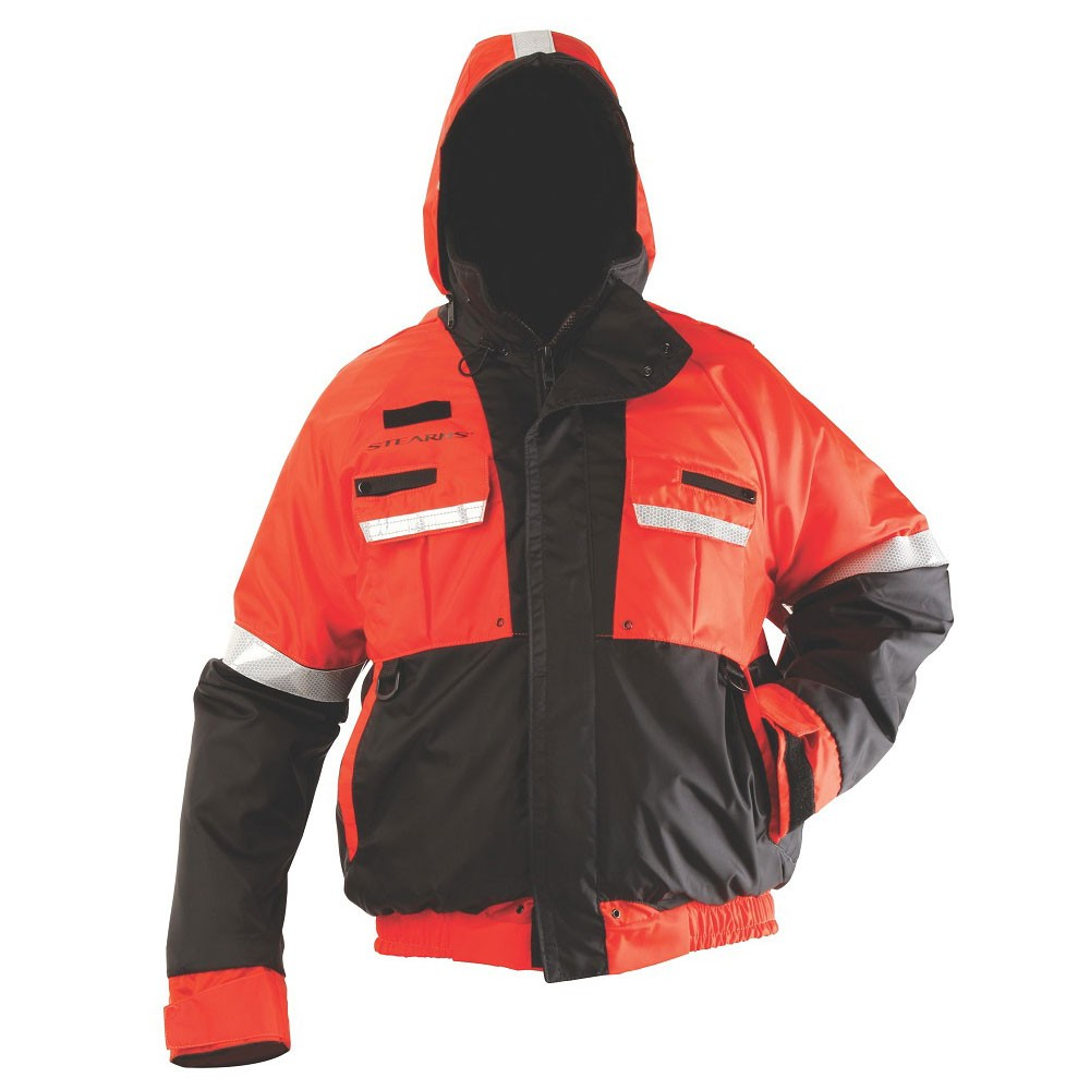 Stearns Powerboat Flotation Jacket Bomber Style - Orange/Black
