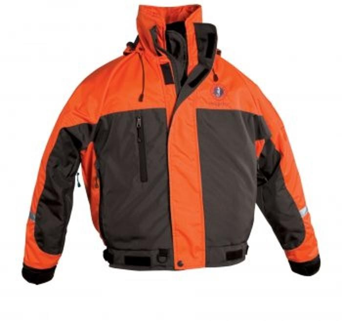 Mustang Survival Integrity Deluxe Flotation Bomber Jacket - Orange/Carbon