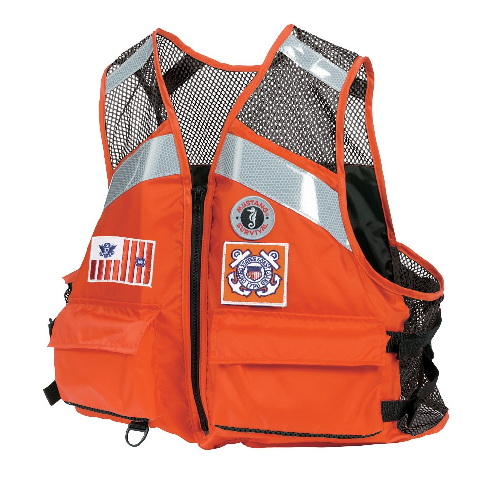Mustang Survival Industrial Mesh Vest with SOLAS Reflective Tape for USCG - Orange