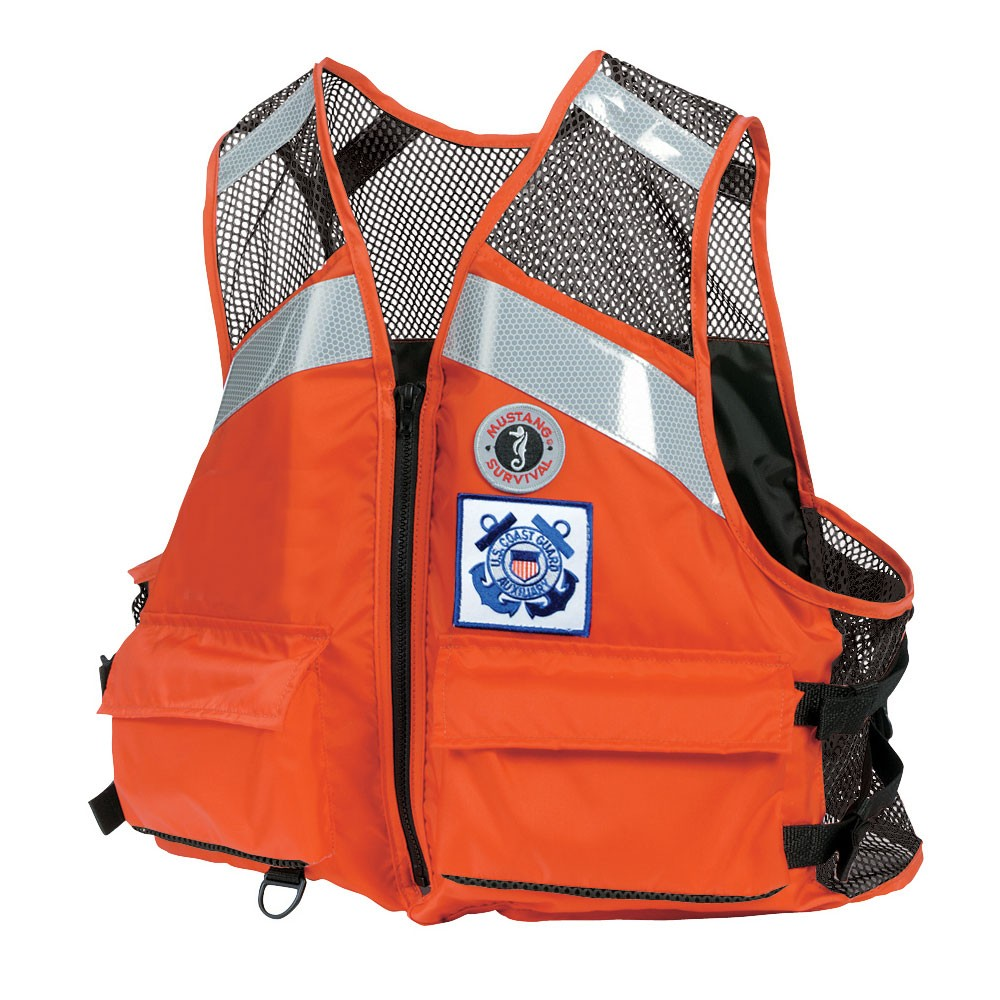 Mustang Survival Industrial Mesh Vest with SOLAS Reflective Tape for USCG Auxiliary - Orange