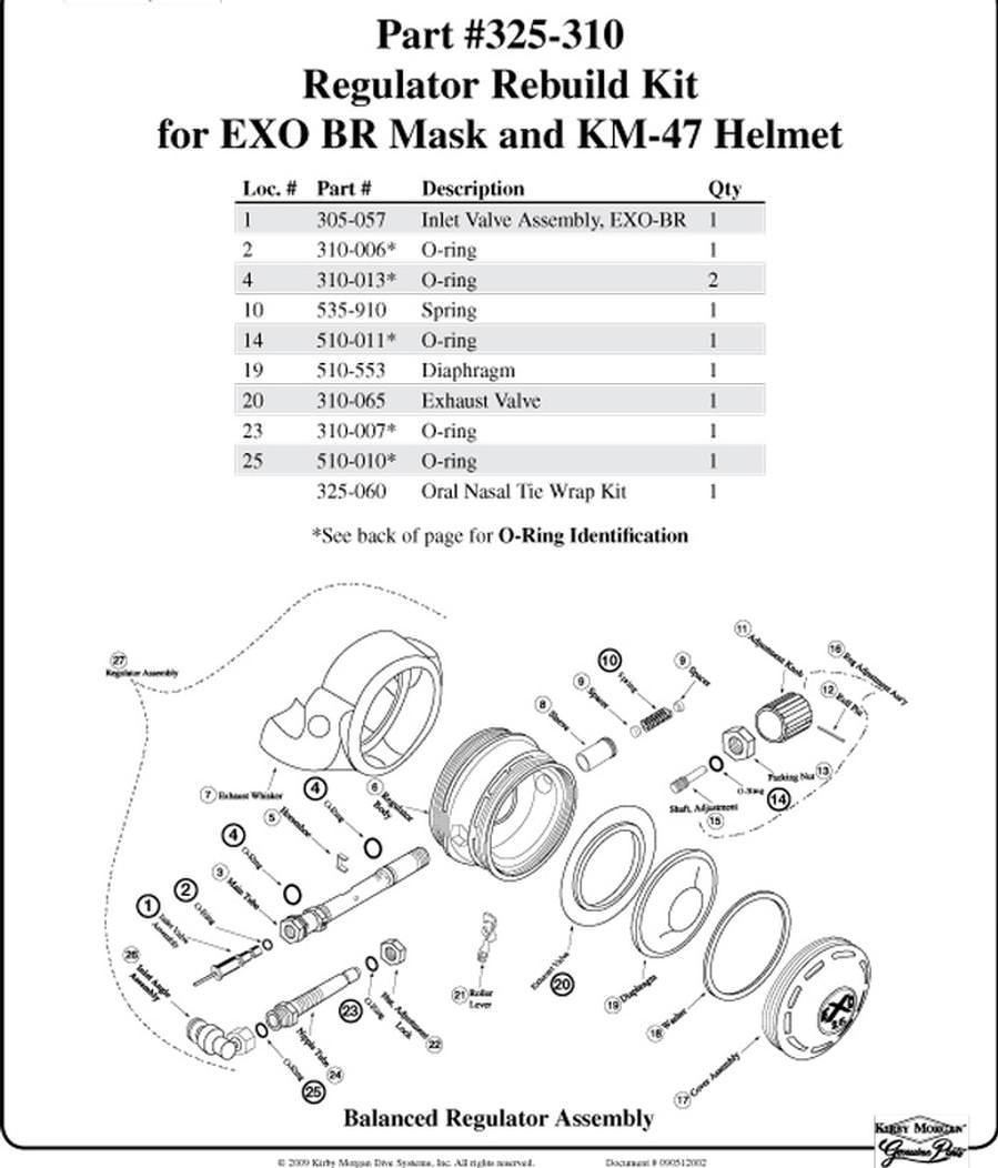 Kirby Morgan Regulator Rebuild Kit for Exo Mask 325-310