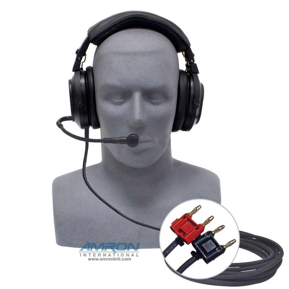 Amron Deluxe Headset with Boom Mic and Dual Banana Plugs 2401-28