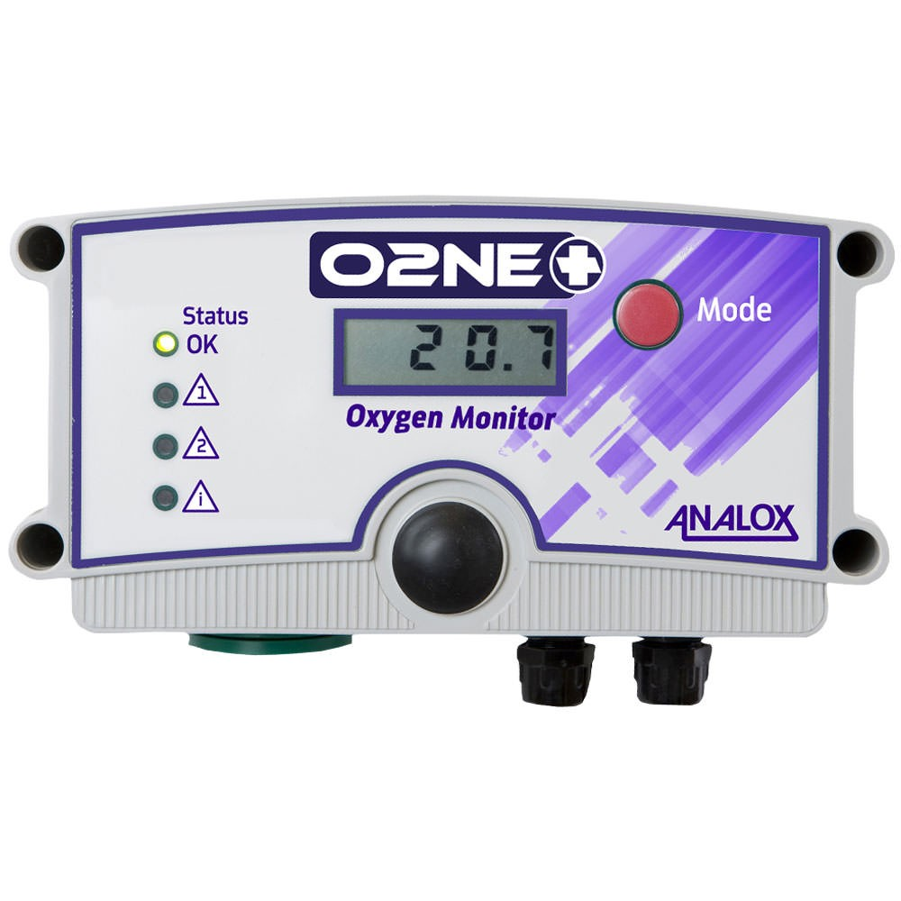 Analox O2NE+ Oxygen (O2) Depletion Wall Mounted Analyzer 230V AC Euro Plug with Quick Connect Repeater AX1BK10X11QXY01