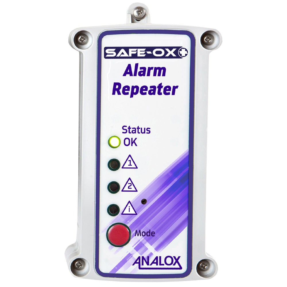 Analox Safe-Ox+ Wall Mount Oxygen (O2) Depletion and Enrichment Monitor 110V AC US Plug with Quick Connect Repeater and Two Relays AX1BK20X57Q2Y56