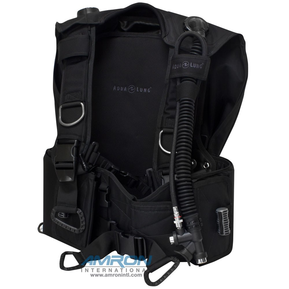 Aqua Lung BC-1 Black Buoyancy Compensator – Large with Hook & Loop Weight Pouches 3600-14