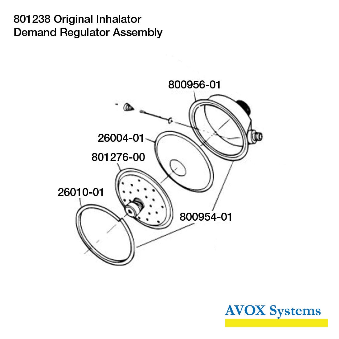 Avox 801238-01 Original Inhalator without 1st Stage Regulator Assembly without Microphone Assembly - Demand Regulator Assembly