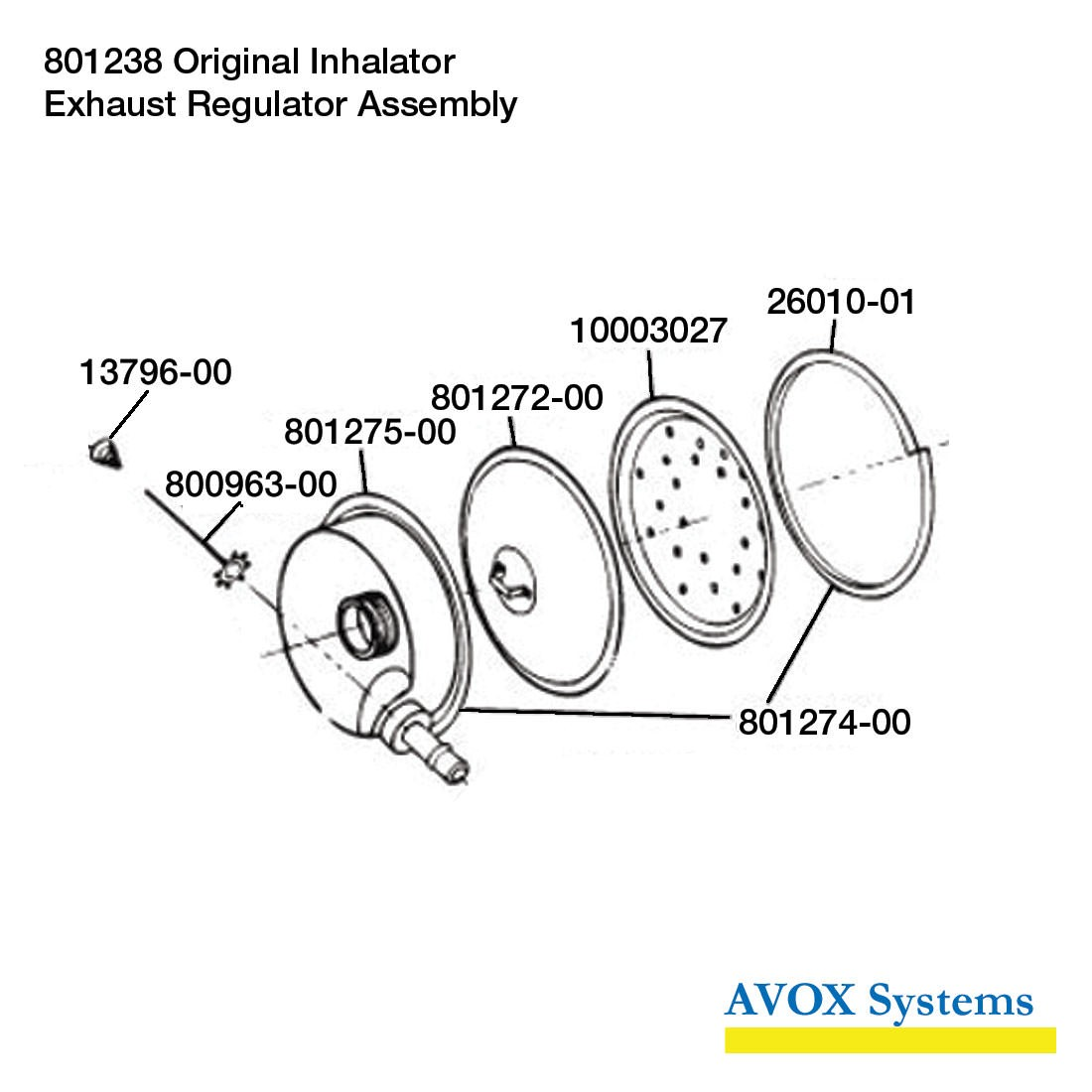 Avox 801238-01 Original Inhalator without 1st Stage Regulator Assembly without Microphone Assembly - Exhaust Regulator Assembly