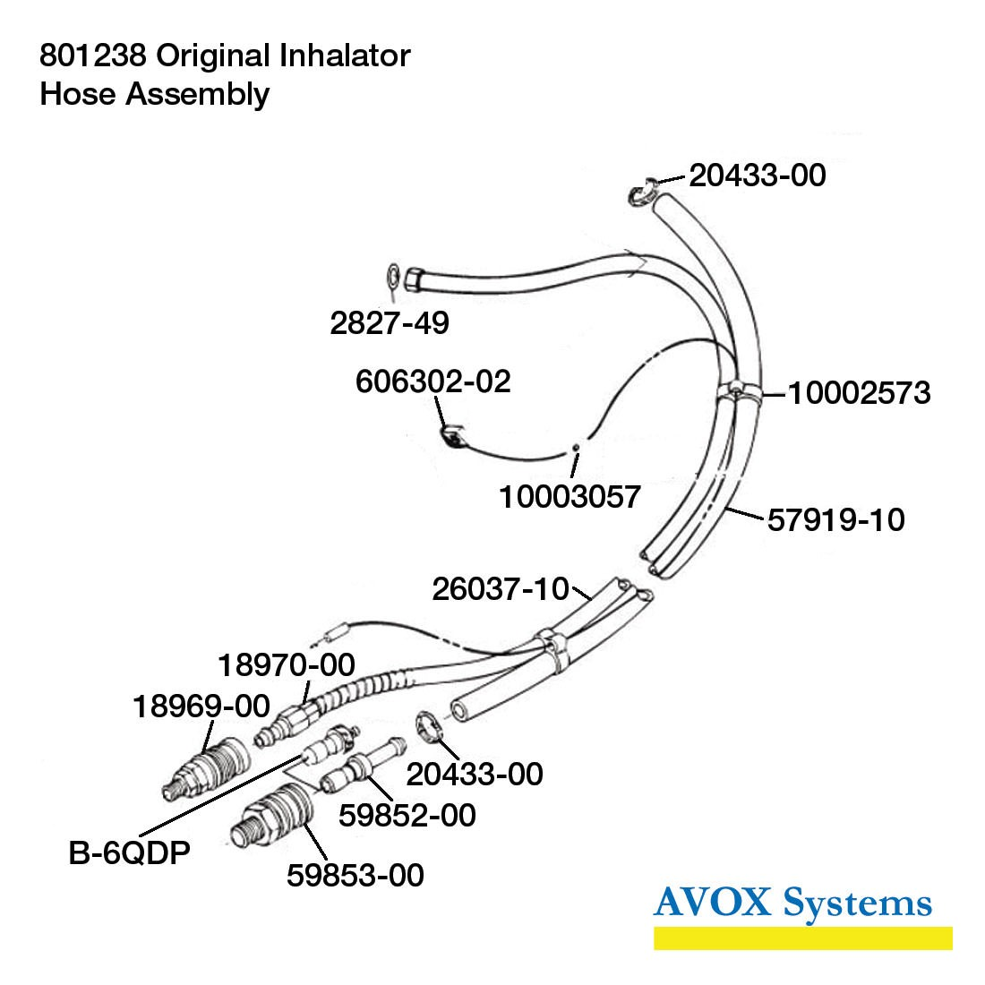 Avox 801238-01 Original Inhalator without 1st Stage Regulator Assembly without Microphone Assembly - Hose Assembly