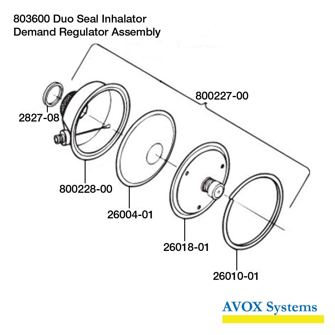 Avox 803600-03 Duo Seal Inhalator without 1st Stage Regulator without Microphone without Hose Assembly - Side - Demand Regulator Assembly
